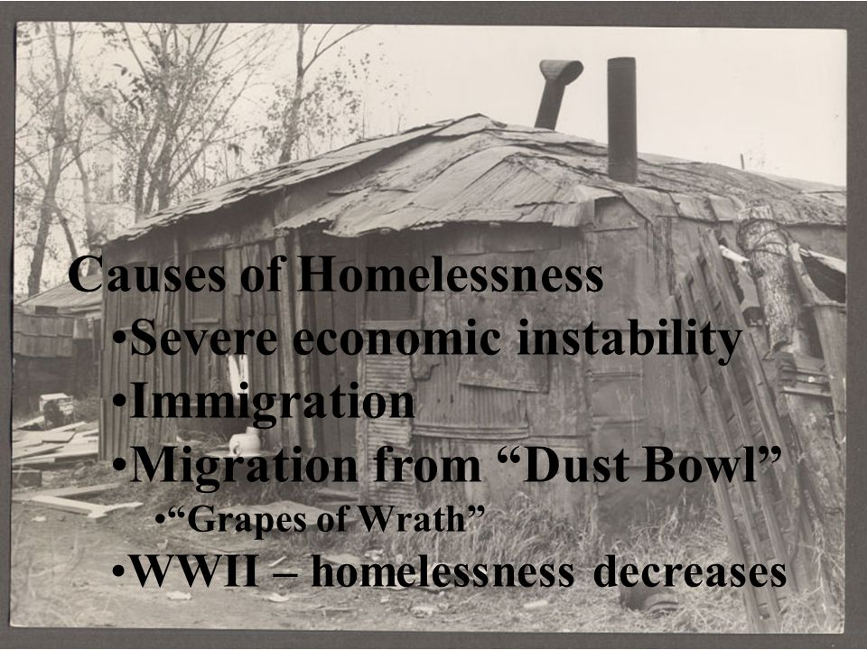 Causes of Homelessness Severe economic instability Immigration