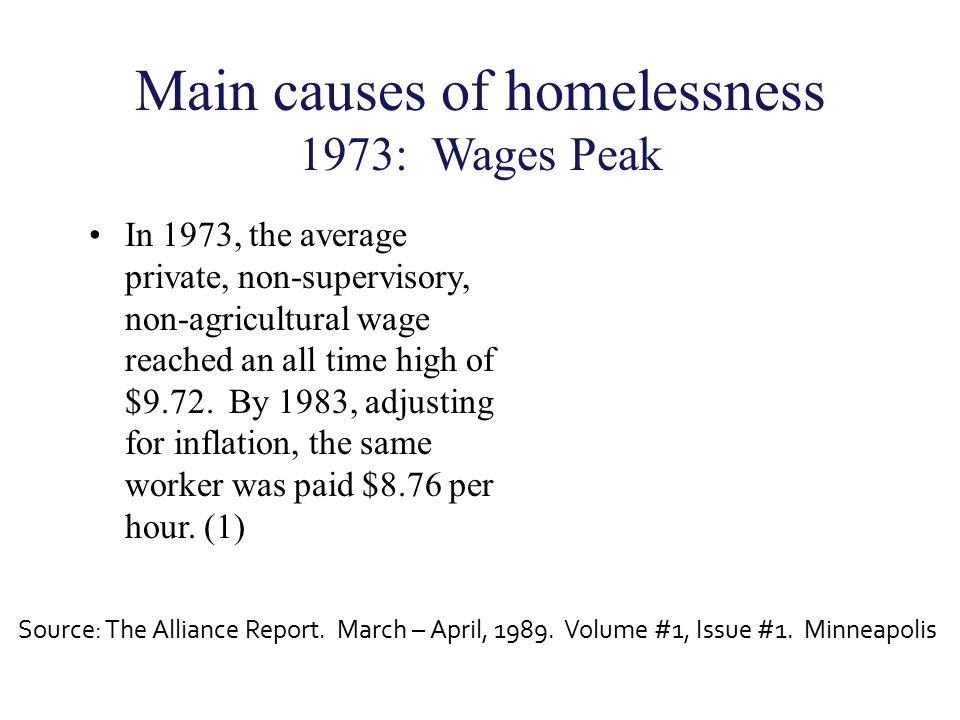 Main causes of homelessness 1973: Wages Peak