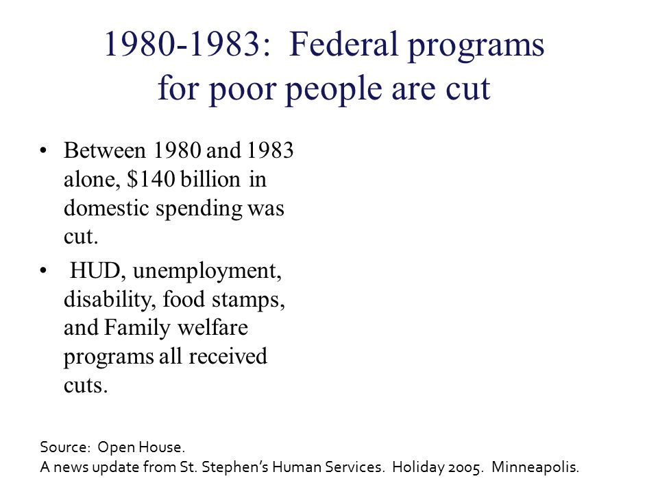1980-1983: Federal programs for poor people are cut