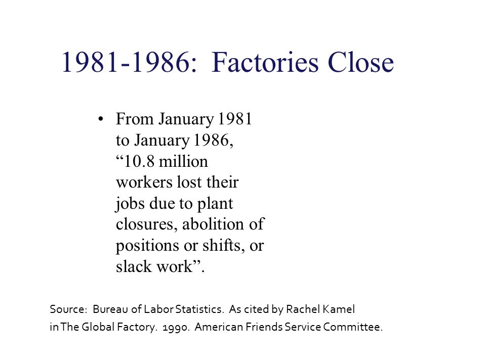 1981-1986: Factories Close