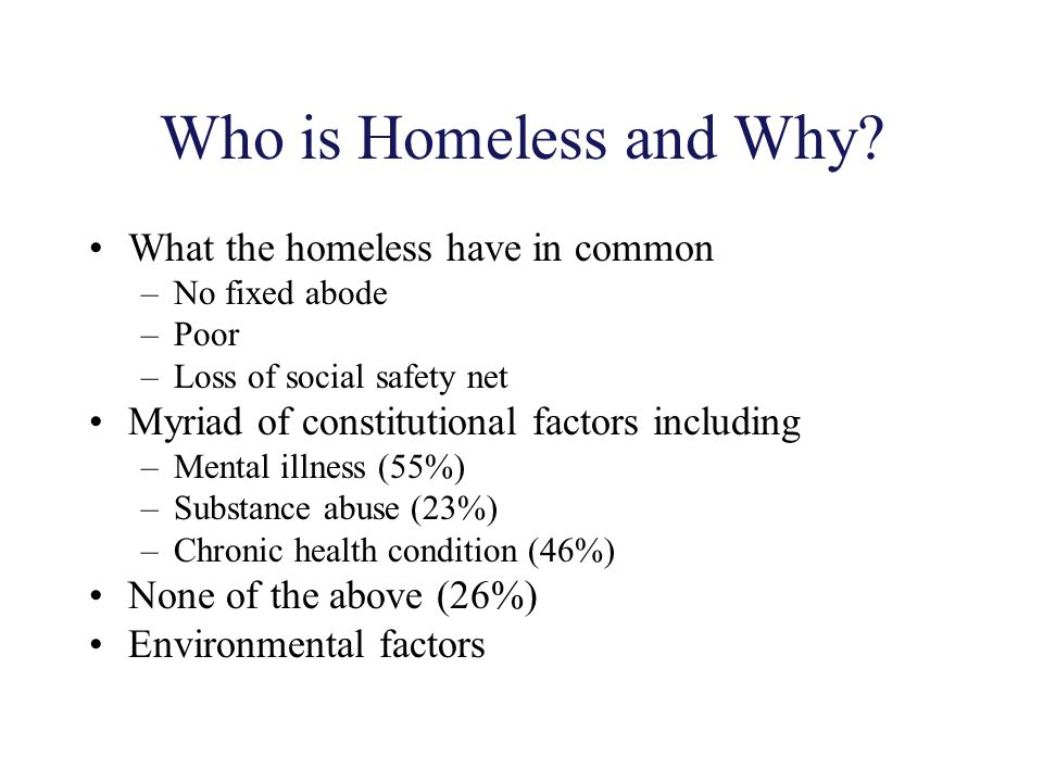 Who is Homeless and Why What the homeless have in common