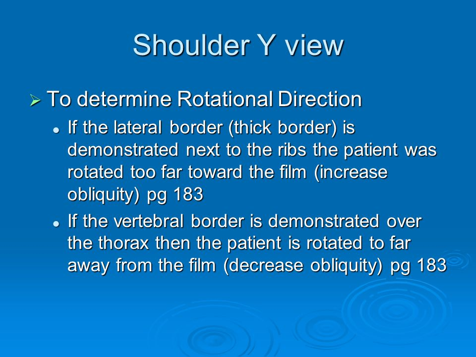 Shoulder Y view To determine Rotational Direction