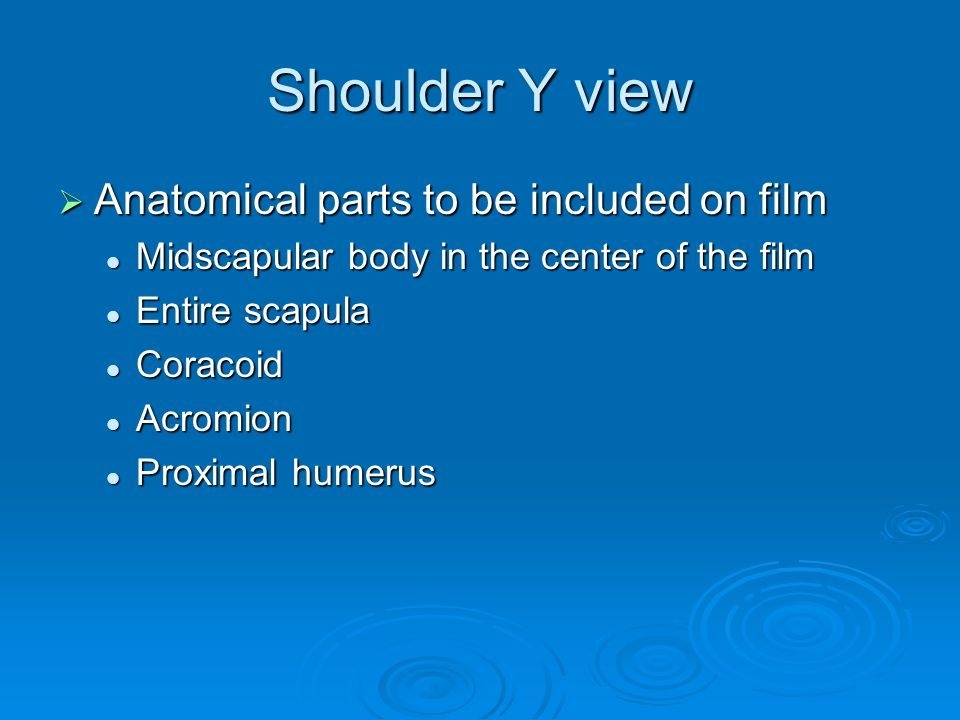 Shoulder Y view Anatomical parts to be included on film