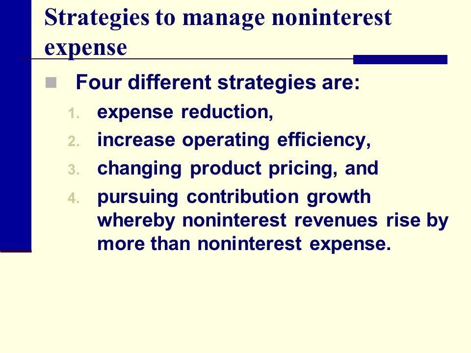 Strategies to manage noninterest expense