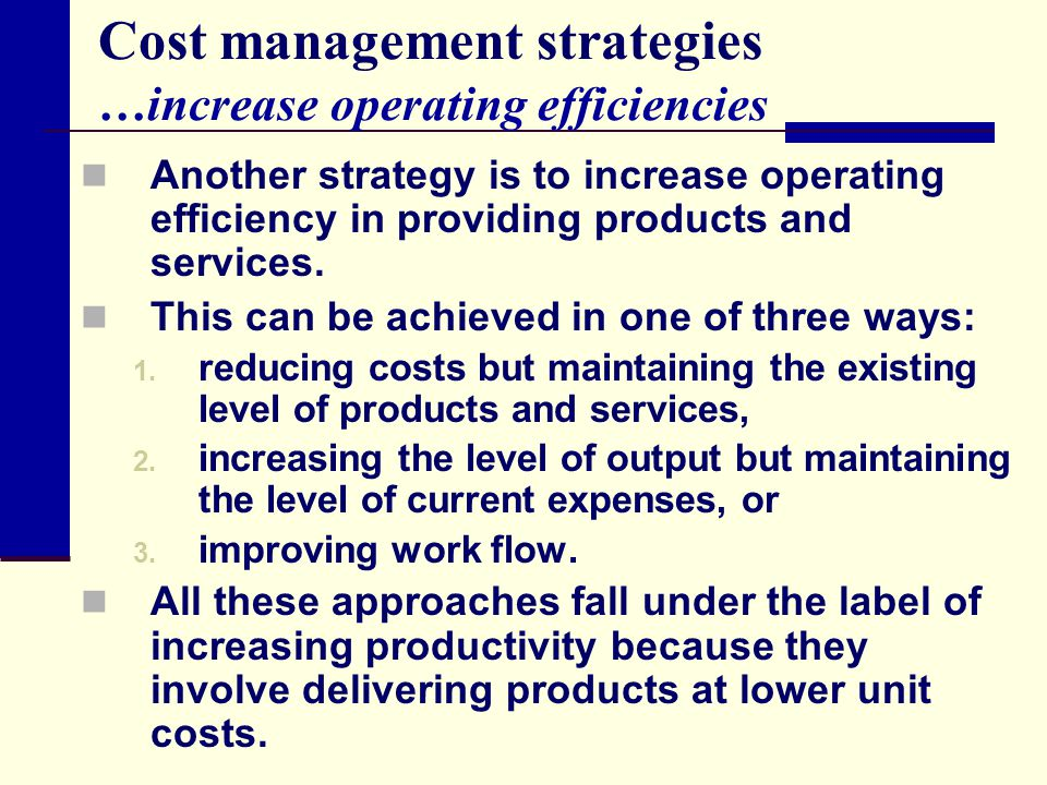 Cost management strategies …increase operating efficiencies