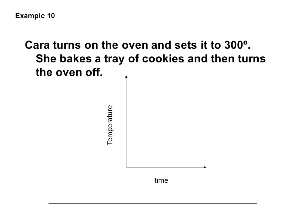 Example 10 Cara turns on the oven and sets it to 300º. She bakes a tray of cookies and then turns the oven off.