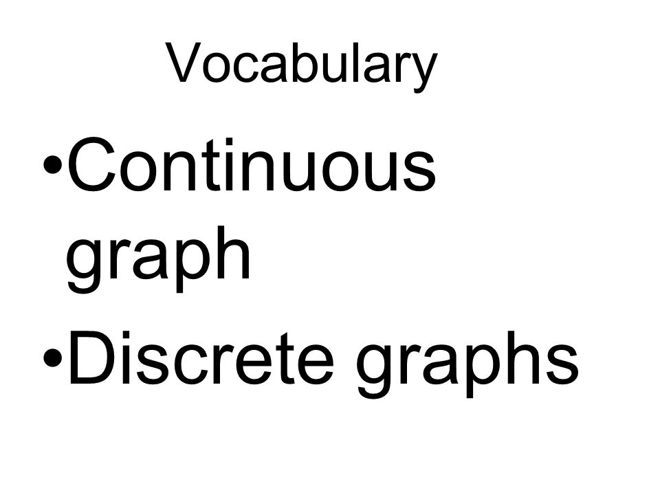 Vocabulary Continuous graph Discrete graphs