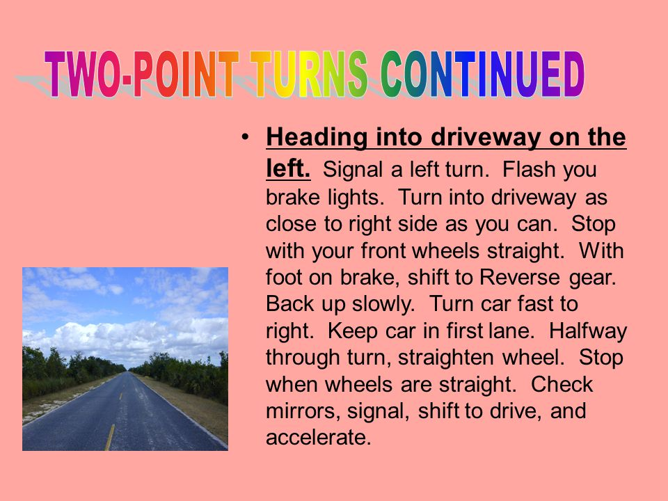 TWO-POINT TURNS CONTINUED
