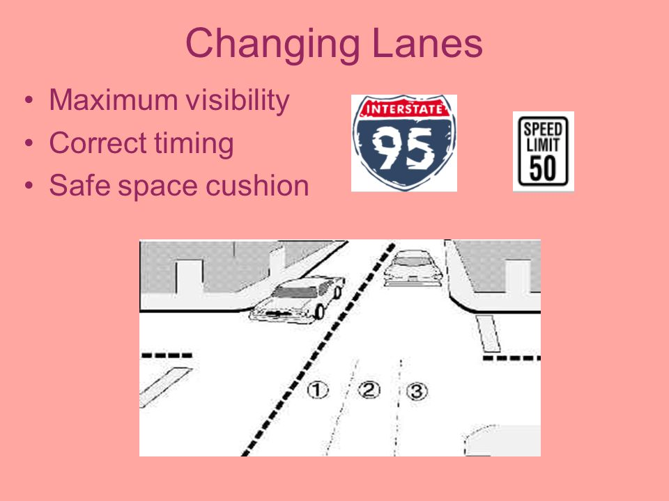 Changing Lanes Maximum visibility Correct timing Safe space cushion