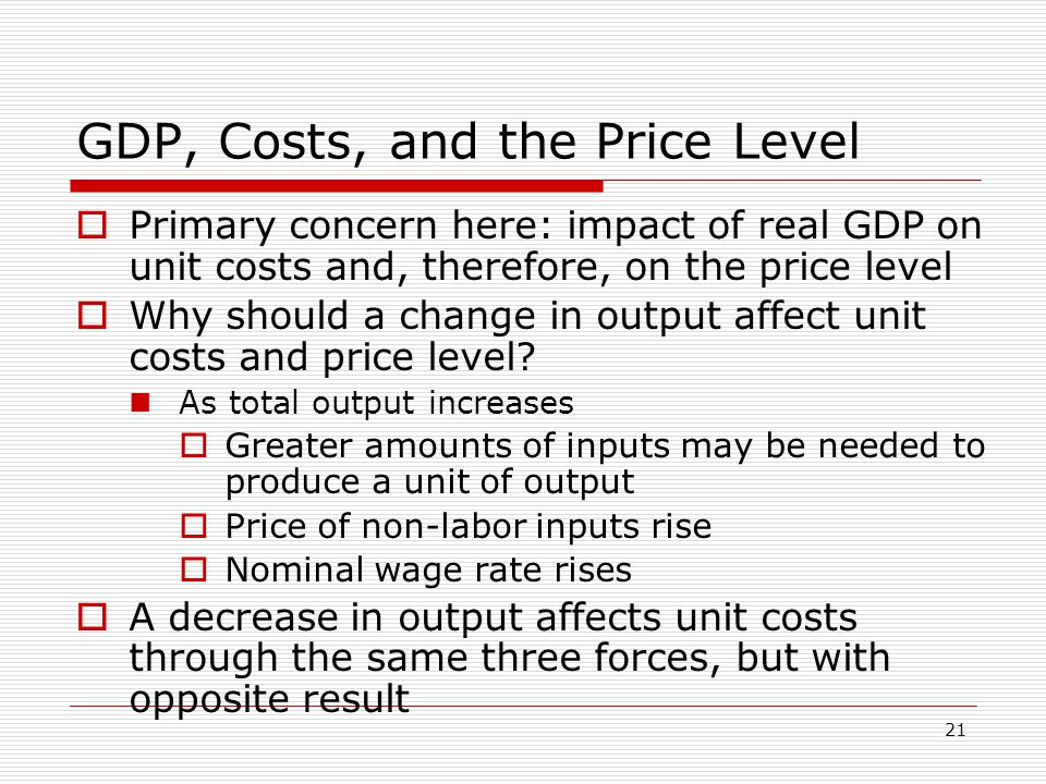 GDP, Costs, and the Price Level