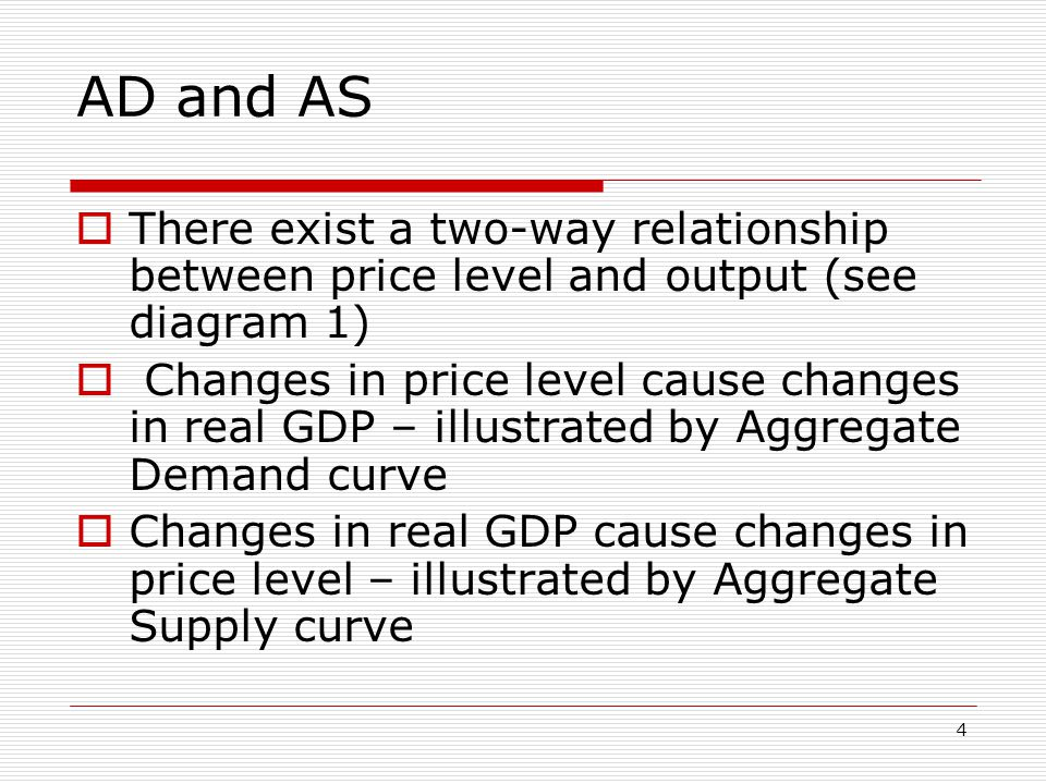 AD and AS There exist a two-way relationship between price level and output (see diagram 1)