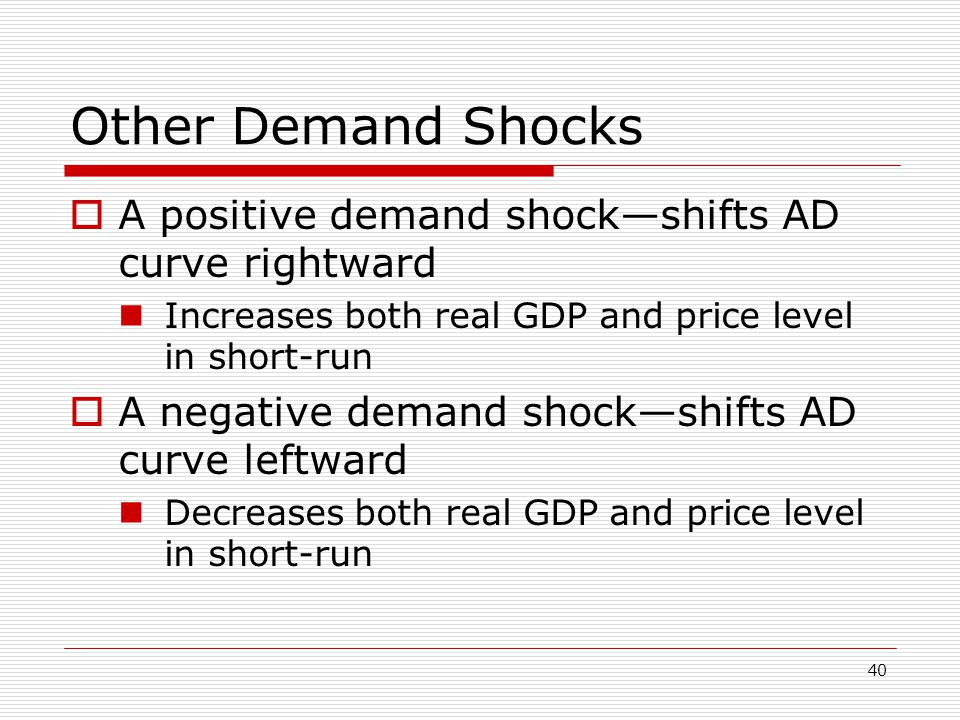 Other Demand Shocks A positive demand shock—shifts AD curve rightward