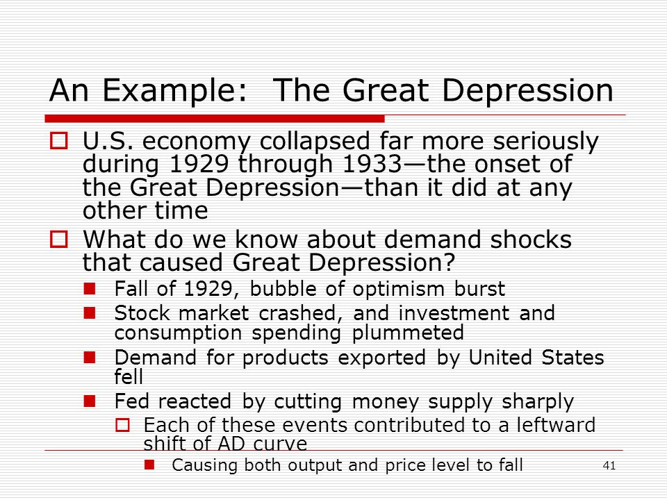 An Example: The Great Depression