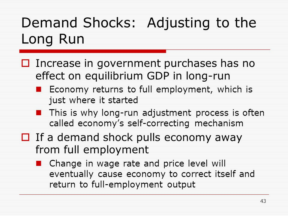Demand Shocks: Adjusting to the Long Run