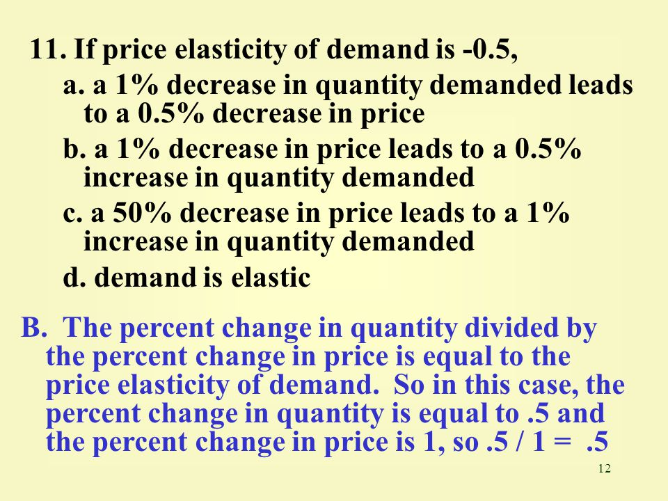 11. If price elasticity of demand is -0.5,
