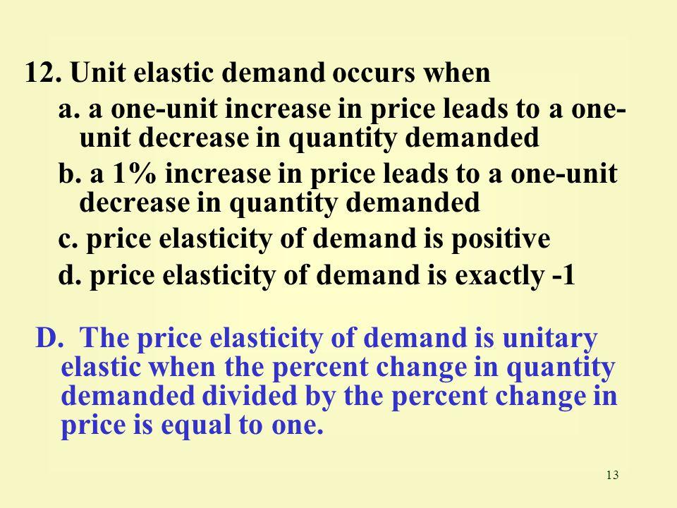 12. Unit elastic demand occurs when