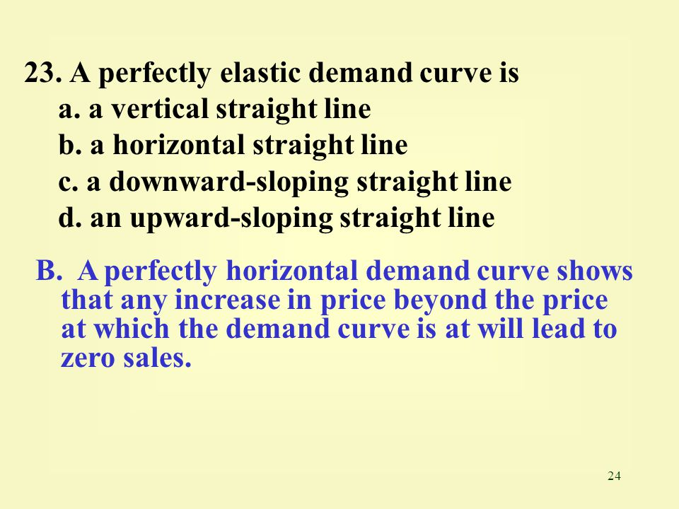 23. A perfectly elastic demand curve is
