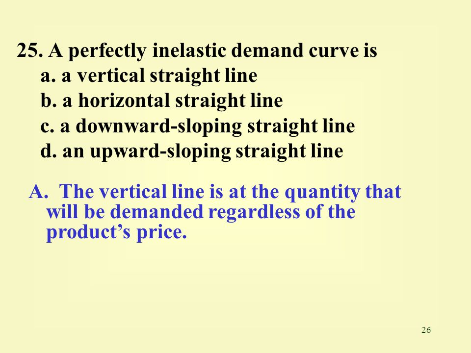 25. A perfectly inelastic demand curve is