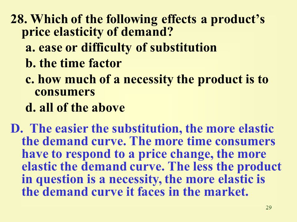 28. Which of the following effects a product's price elasticity of demand