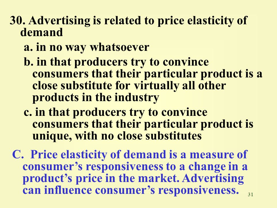 30. Advertising is related to price elasticity of demand