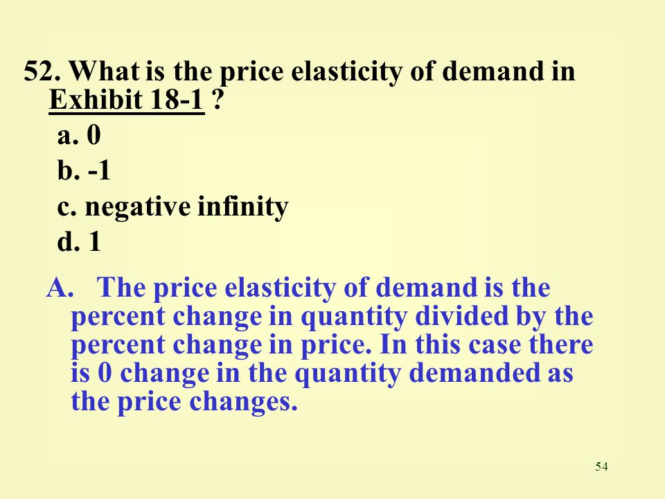 52. What is the price elasticity of demand in Exhibit 18-1