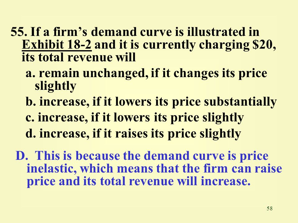 55. If a firm's demand curve is illustrated in Exhibit 18-2 and it is currently charging $20, its total revenue will