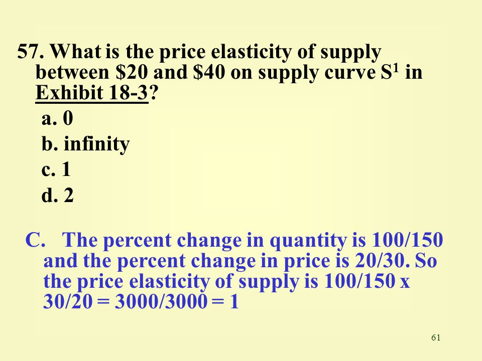 57. What is the price elasticity of supply between $20 and $40 on supply curve S1 in Exhibit 18-3