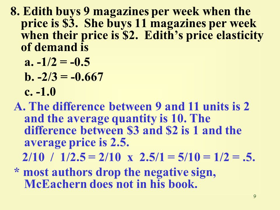 8. Edith buys 9 magazines per week when the price is $3