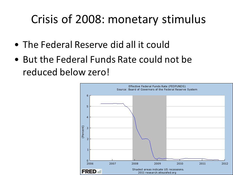 Crisis of 2008: monetary stimulus
