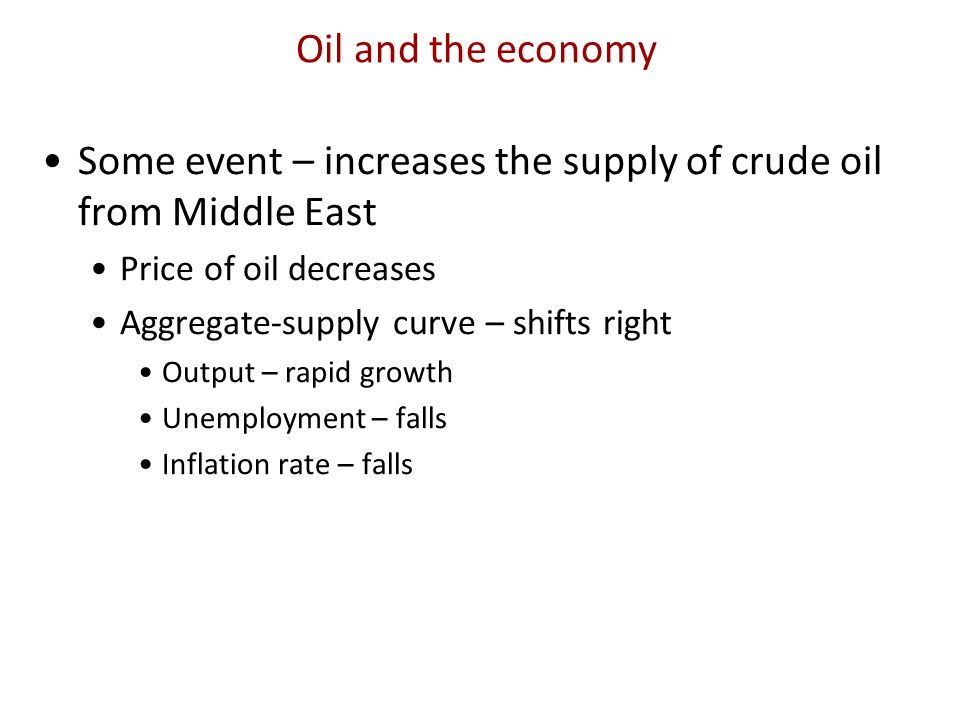 Some event – increases the supply of crude oil from Middle East
