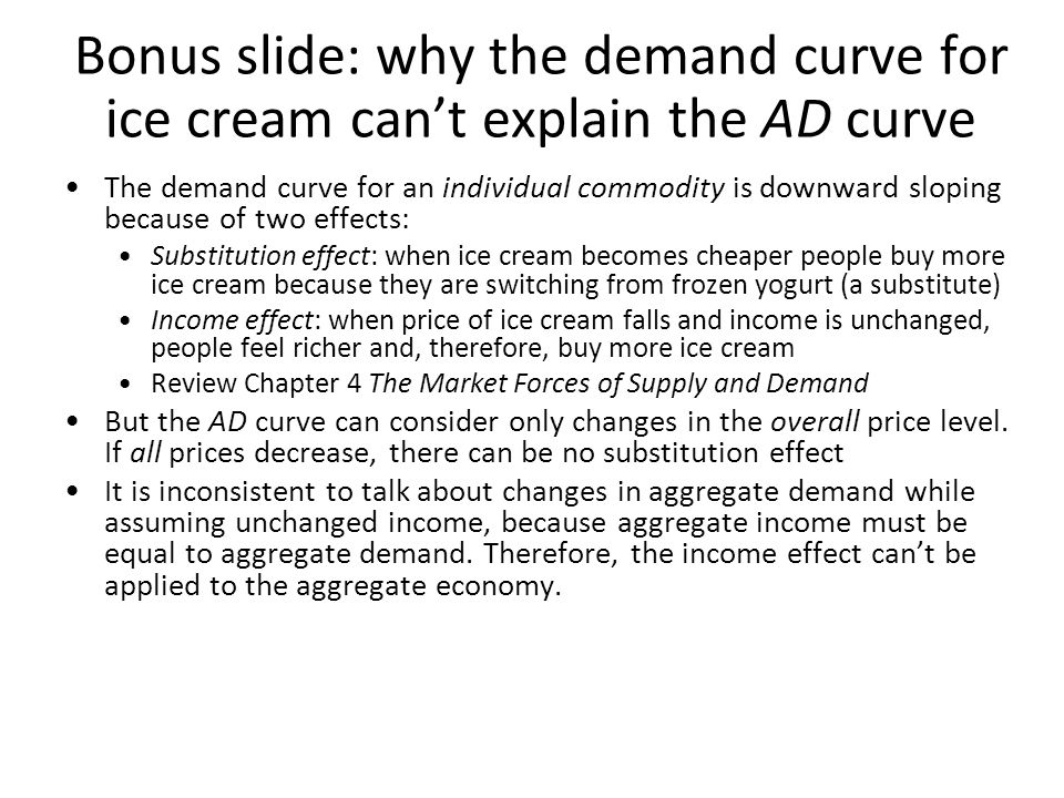 Bonus slide: why the demand curve for ice cream can't explain the AD curve