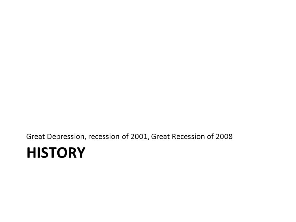 Great Depression, recession of 2001, Great Recession of 2008