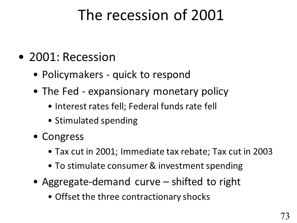 The recession of 2001 2001: Recession Policymakers - quick to respond
