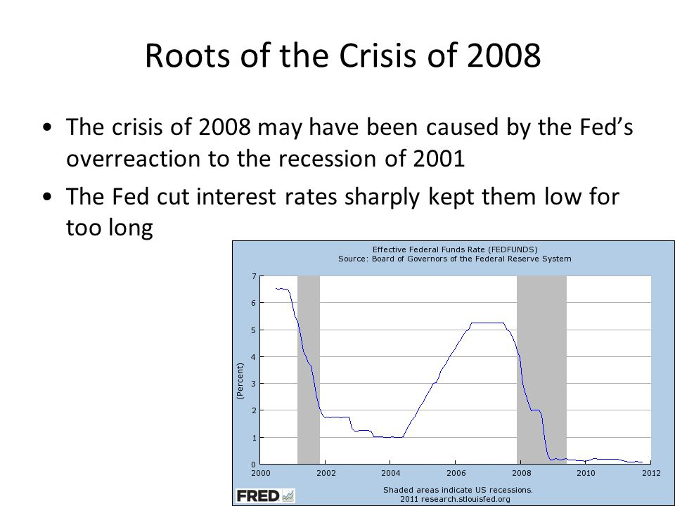 Roots of the Crisis of 2008 The crisis of 2008 may have been caused by the Fed's overreaction to the recession of 2001.