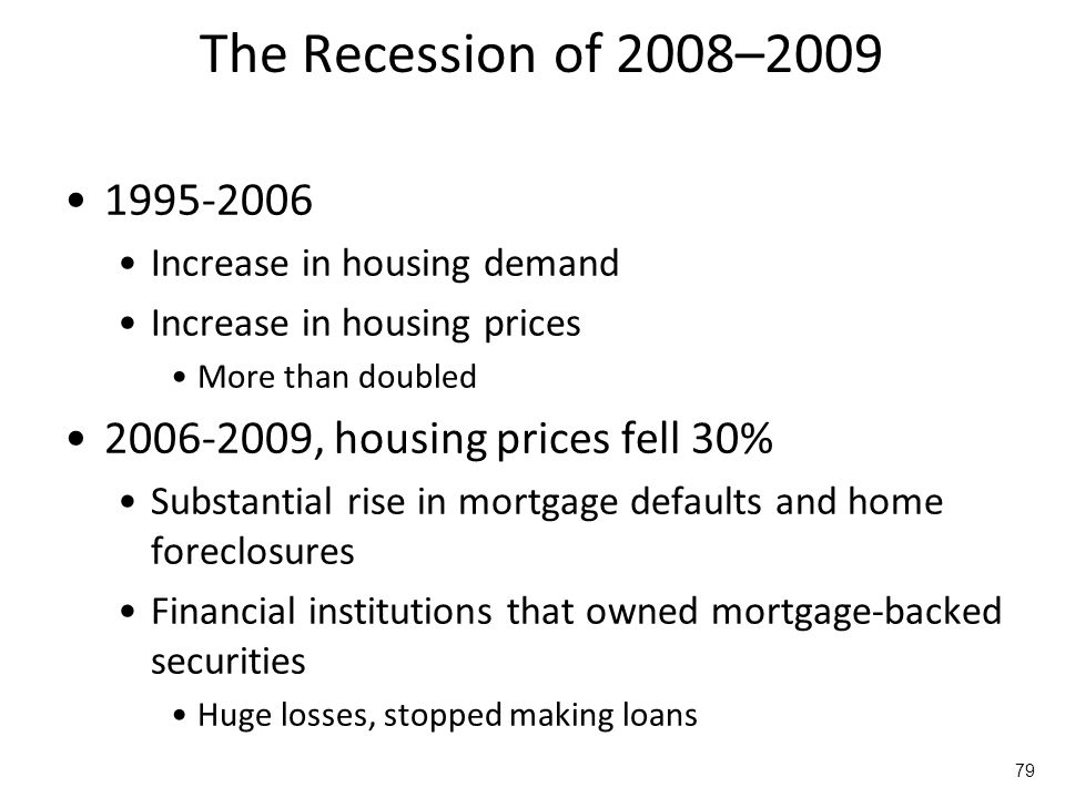 The Recession of 2008–2009 1995-2006. Increase in housing demand. Increase in housing prices. More than doubled.