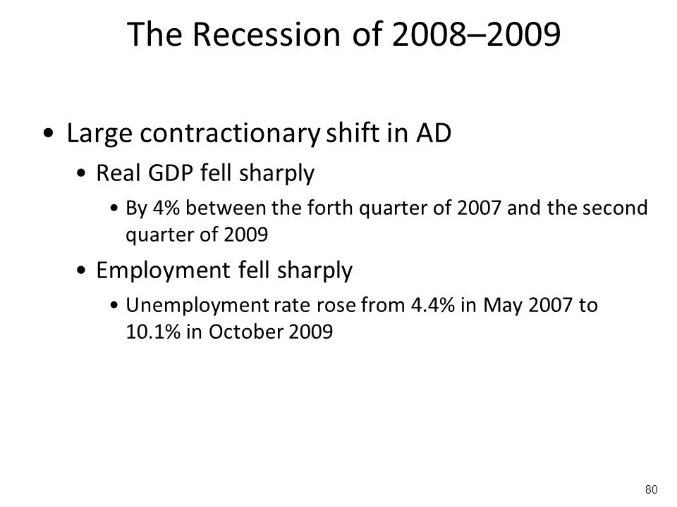 The Recession of 2008–2009 Large contractionary shift in AD