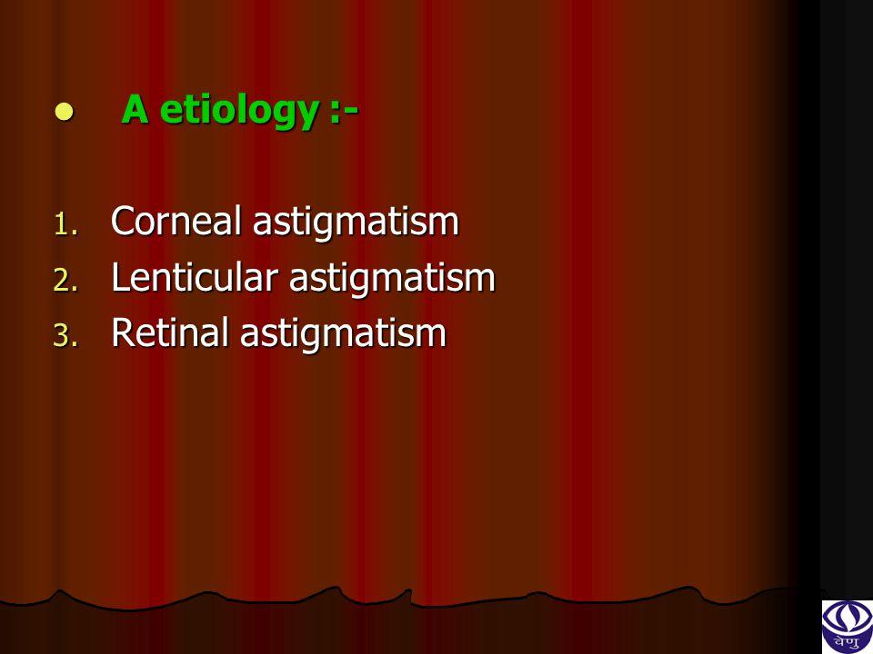 A etiology :- Corneal astigmatism Lenticular astigmatism Retinal astigmatism