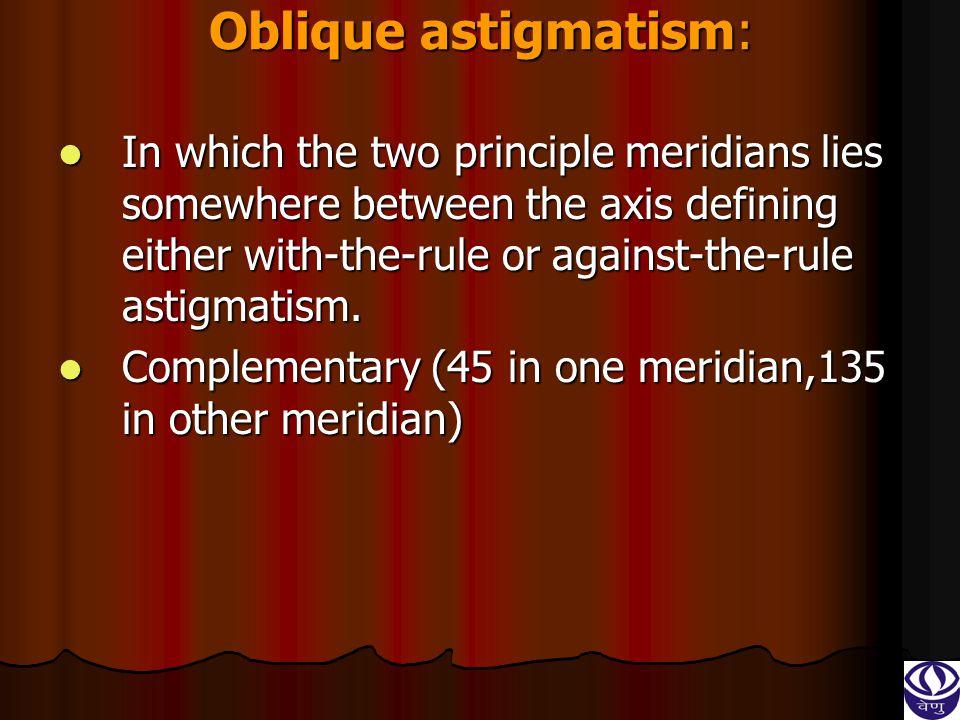 Oblique astigmatism: