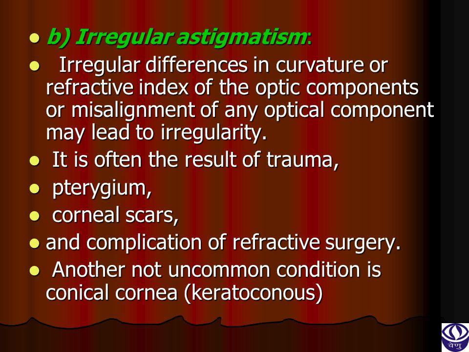 b) Irregular astigmatism: