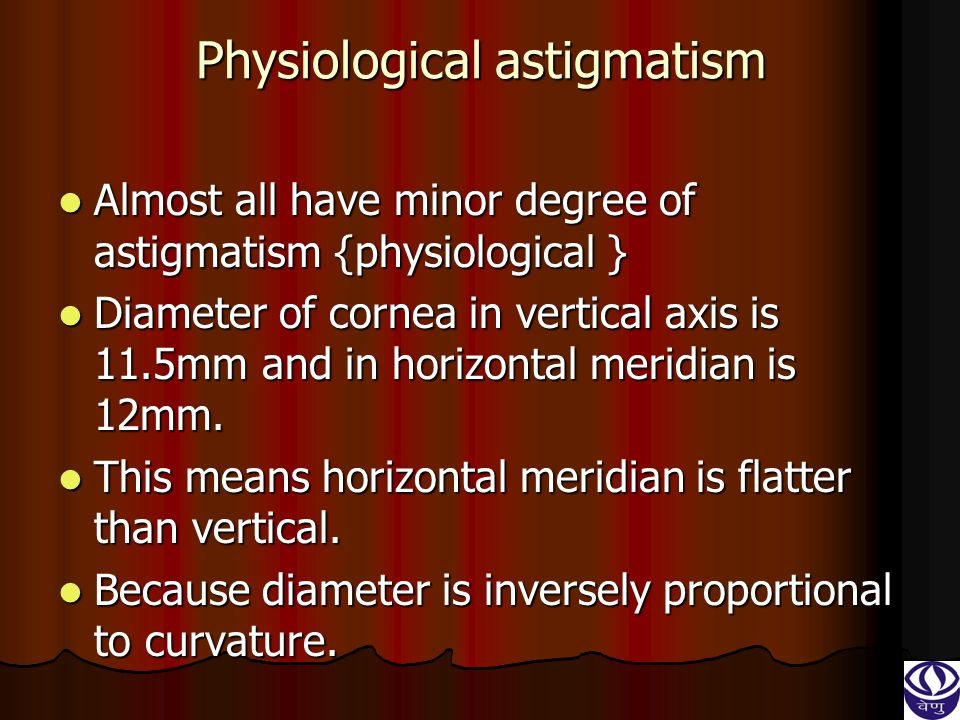 Physiological astigmatism