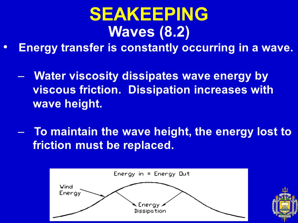 SEAKEEPING Waves (8.2) Energy transfer is constantly occurring in a wave.