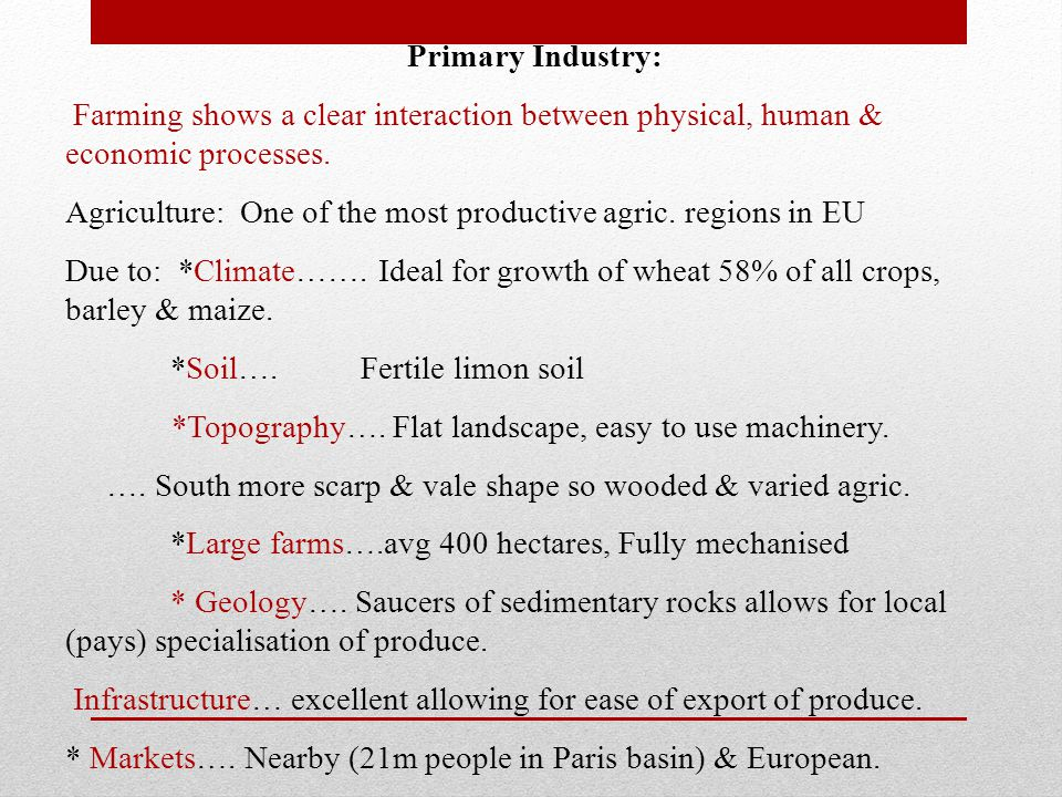Primary Industry: Farming shows a clear interaction between physical, human & economic processes.