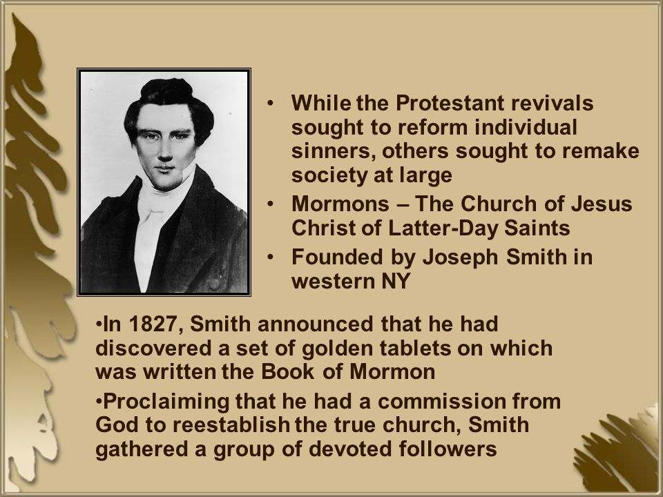 While the Protestant revivals sought to reform individual sinners, others sought to remake society at large