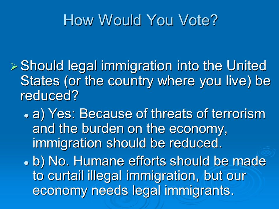 How Would You Vote Should legal immigration into the United States (or the country where you live) be reduced