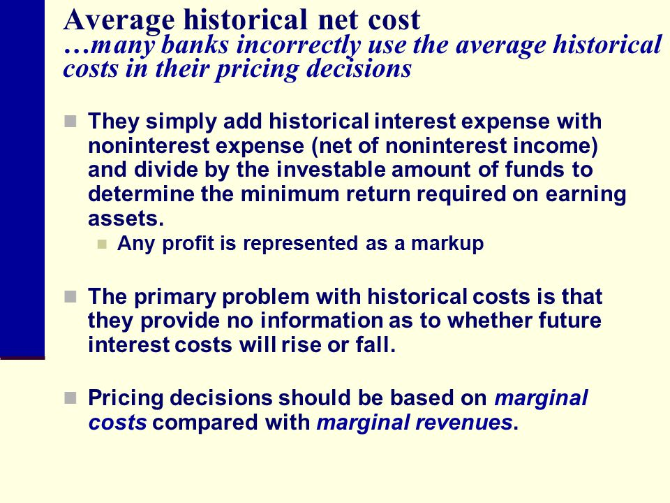 Average historical net cost …many banks incorrectly use the average historical costs in their pricing decisions