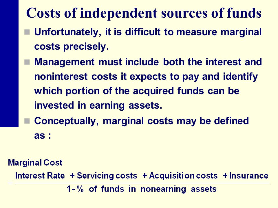 Costs of independent sources of funds