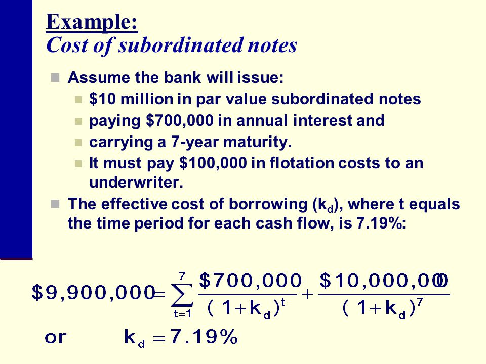 Example: Cost of subordinated notes