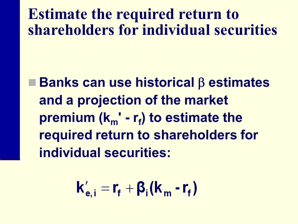 Estimate the required return to shareholders for individual securities