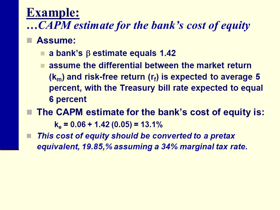 Example: …CAPM estimate for the bank's cost of equity