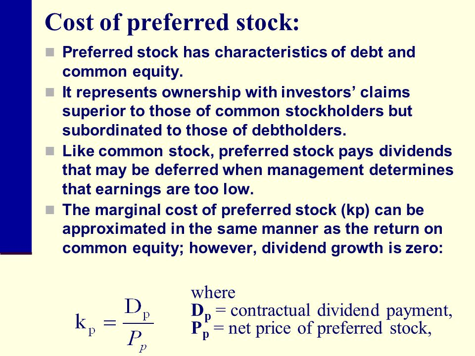 Cost of preferred stock: